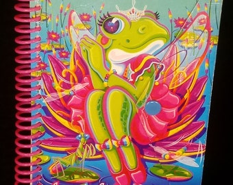 """Vintage LISA FRANK """"Miss Flirty Frog"""" Spiral-Bound Notebook with Snap Closure ~ 90 Sheets of Ruled Paper inside, Paper Size: 5.75"""" x 4"""""""