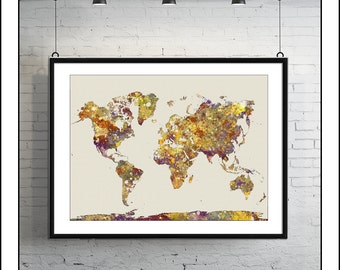 WORLD MAP, Map of the World, Large World Map, World Map Poster, World Map Print, Watercolor Map, Painted Map, Map Art, Painted Map No.1