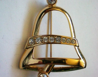 Napier Gold tone Bell for the Christmas / Hanukkah / Winter Holidays - 5730