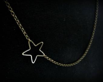 Star brass asymmetrical necklace