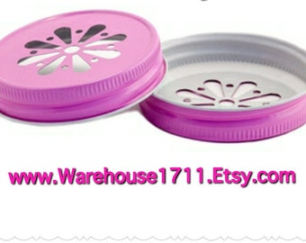 Mason Jar Lids ~ 10 ~ Daisy Lids ~ (Pink)/Party Jar Lids/Wedding Jar Lids/Anniversary Jar Lids
