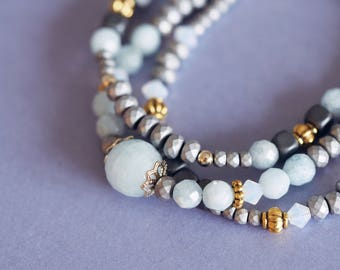 Aquamarine bracelet, multistrand beaded bracelet, unique gift for her, aquamarine jewelry, elegant christmas gift for women
