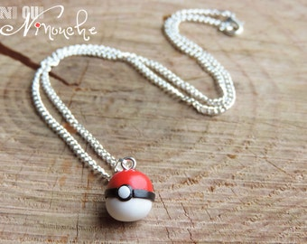 Necklace pokeball 45cm chain with Pendant (fimo) geeky pokemon red and white Pokémon go go Christmas gamer geek gift idea