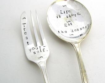 Treat Yourself, Matching Set, Handstamped Dessertspoon and Cakefork, Hand Stamped Vintage Spoon and Fork