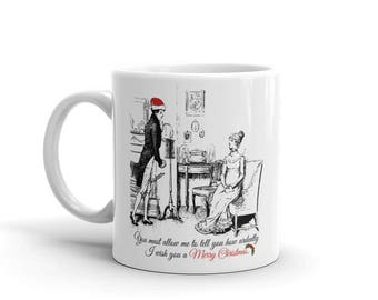 Pride and Prejudice Coffee Mug | Jane Austen Gifts | Christmas present | Mr Darcy | Elizabeth Bennet | literary gift | book lover | Quote