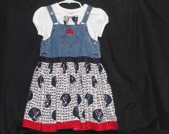 Go Texans!  Spirit overall dress.  Great for the little Texan in your life.  Size 4-5