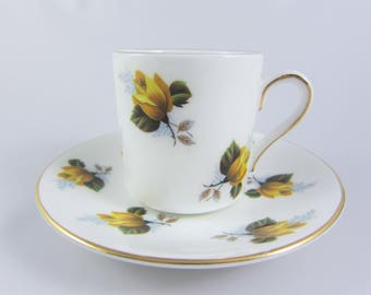 Vintage Royal Grafton Yellow Roses Demitasse Teacup and Saucer. Fine Bone China Made in England. Pattern 1728