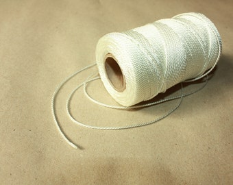 1.5 mm TWISTED WHITE Cord = 1 Spool = 110 Yards = 100 Meters of Elegant Polyester Rope Great for Macrame Sewing Crocheting Knitting