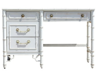 1960s Hollywood Regency Thomasville White Faux Bamboo Writing Desk