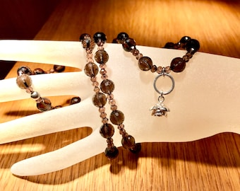 Excellence Smoky quartz necklace with a 925 silver rose
