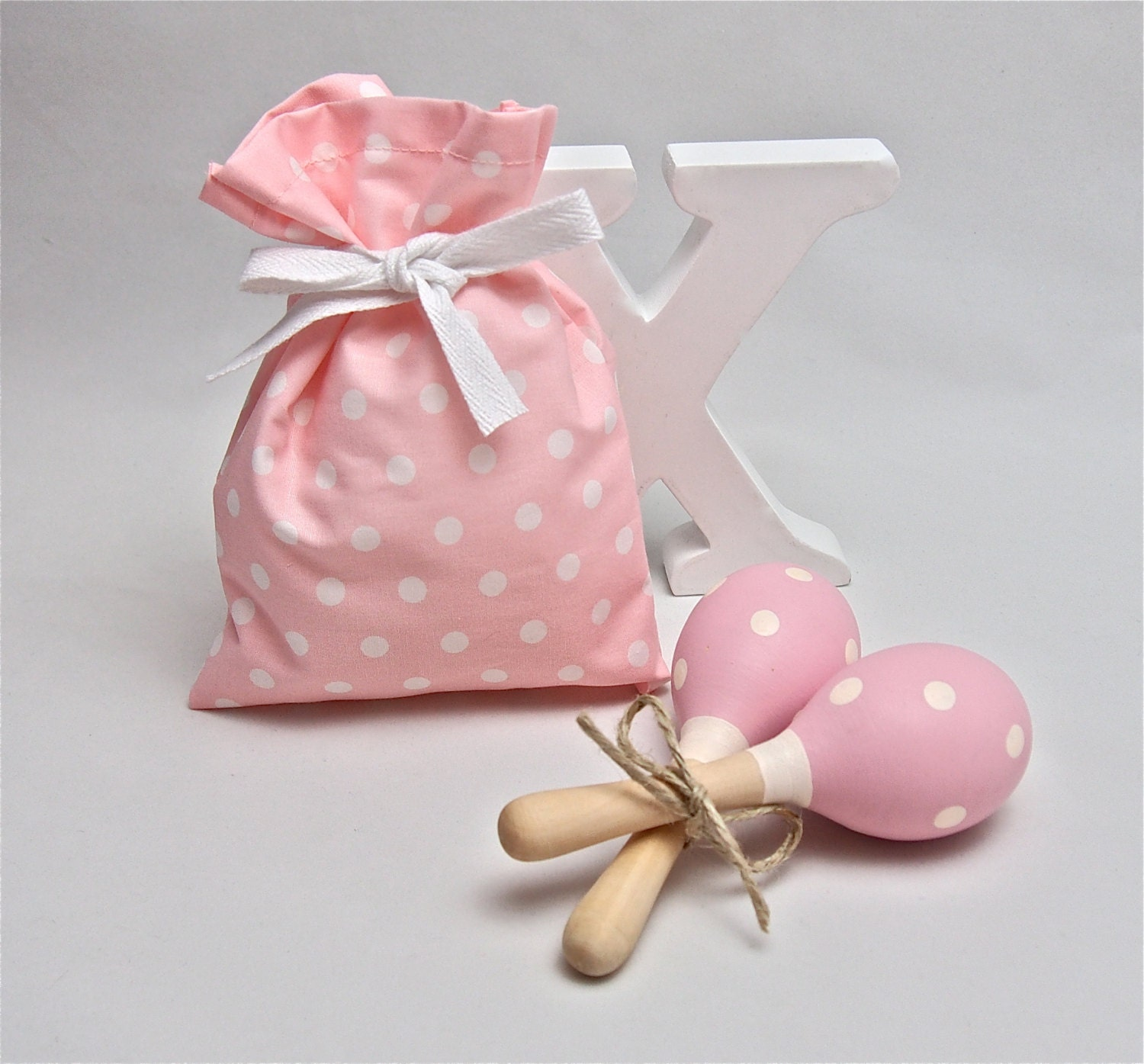 Pink & White Polka Dots Baby Rattle Baby Toy Baby Maraca