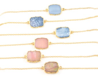 Opal Necklace Gold, Gemstone Slice Necklace, Gem Slice Choker, Pink Opal Necklace, Blue Opal Necklace, Slice Connector, Gift for Best Friend