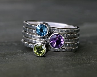 Peacock Feather Stacking Rings, Sterling Silver, Amethyst Peridot Swiss Blue Topaz Faceted Stackable, Set of Five Stack Ring Hammered  Band