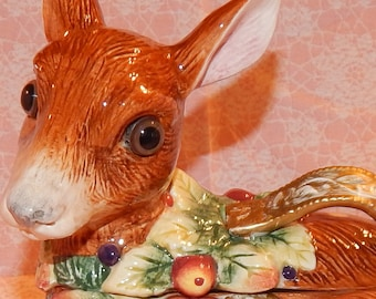 Fitz and Floyd Deer Tureen, Baby Fawn Deer Gravy / Soup Bowl with Lid, Figurine , Snowy Woods Christmas Collectible
