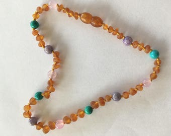 Baltic raw amber&semistone teething and children necklace