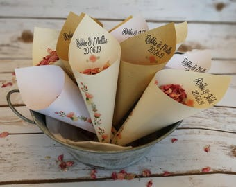 10 Floral garland confetti cones. Ready made.