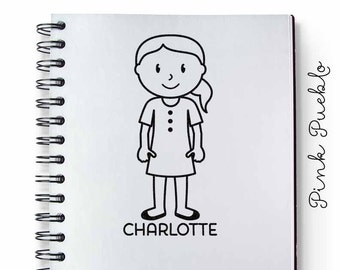 Personalized Girl Rubber Stamp - Choose Hair, Clothing and Name