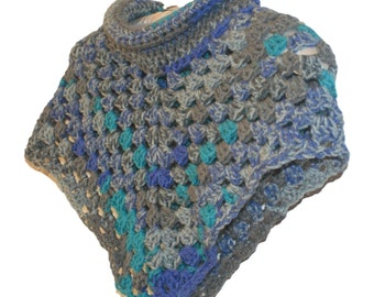 Poncho Woman, Capelet Woman, Womens Cape, Cowl Neck Poncho, Women Crochet Poncho, Roll Neck Poncho, Collared Poncho, Blue Gray Cape, Poncho