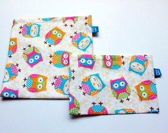 Reuseable Eco-Friendly Set of Snack and Sandwich Bags in Yellow Owls Fabric