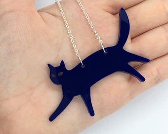 """Navy Blue Laser Cut Acrylic Cat Necklace 20"""" Silver Chain"""