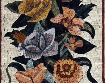 Flower Arrangement Marble Mosaic Art
