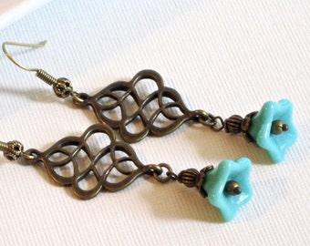 Turquoise Brass Earrings - Flower Earrings, Czech Glass Earrings