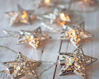 Silver Fairy Lights/Lights for bedroom / Silver Lights / Fairy Lights / Star Lights / Eid Lights / Moroccan Lights/ Eid Decorations