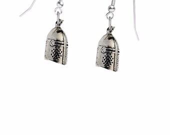 CodeKHKR Knight's Helmet on hook Earrings sterling silver 925 jewellery jewelry