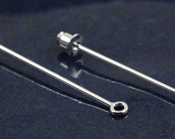 Silver plated 2.5 inch stick pin with loop (10)