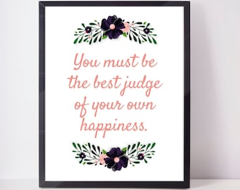 Jane Austen 'Happiness' Quote - PINK - Downloadable Print quote print art wall art printable wall decor print inspirational quote digital