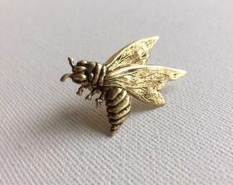Bee Brooch, Bee Pin, Gold Bee Brooch, Gold Collar Pin, Lapel Pin, Coat Pin, Honeybee Brooch, Queen Bee Brooch, Bumblebee Brooch, Wasp Pin