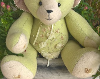TEDDY BEAR, with applique, hand finished features.
