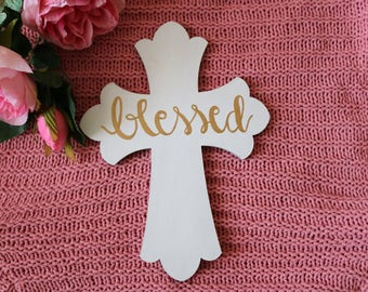 White and Gold 'Blessed' Hand-Painted Wooden Cross 8x11in