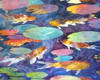 """Original Watercolor Painting Koi Fish Art """"Koi Fish Pond"""" 30x21"""""""