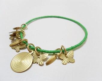 Gold charm bracelet, Gold pendants bangle, Gold butterfly bracelet