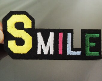 SMILE Letter Patches - Iron on or Sewing on Patch SMILE Patches Word Patch Embellishments Embroidery fonts