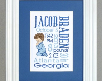 Giving Thanks - Boy - Custom Embroidered Birth Announcement Keepsake