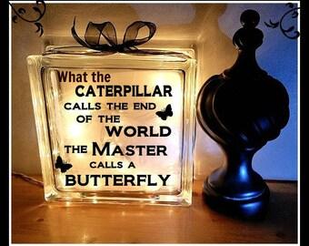 Butterfly glass block, glass block, 8 x 8, memorial block, sympathy block, memory block, remembrance block, personalized gift