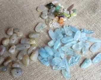 aquamarine, labradorite stones and other seed beads - set of photo