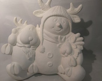 """Snowman with Reindeer 10"""" Ceramic Bisque, Ready To Paint"""