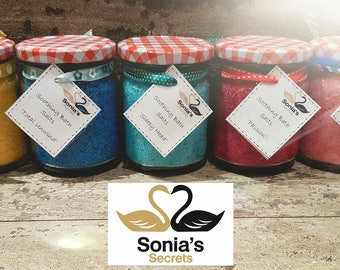 300g Glass Jar Filled with Aromatherapy Bath Potions, Made with a Blend of Pure Essential Oils in Sea Salt
