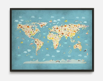 Childrens map etsy animal world map animal map world map nursery kids world map world gumiabroncs Image collections