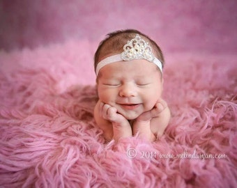 Baby Tiara Headband, Baby Tiara, Newborn Headband, Photo Prop, Pink Tiara, Infant, Hair Acessories, Baby Headbands, Princess Headband, Tiara