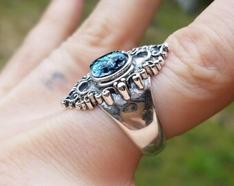 NEW Filigree Sterling Silver Cremation Jewelry Ring Size 7 Ashes InFused Glass Memorial Glass Ring Pet Urn 8x6mm Stone Flat Cut