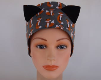Gray Fox Ears - Womens lined surgical scrub cap, Chemo cap, Nurse surgical hat, 154-620b