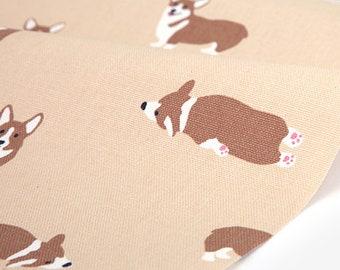Welsh corgi  - animal pattern /  oxford fabric - 59inch