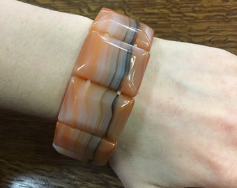 Chalcedony Agate Gemstone Beaded Bracelet
