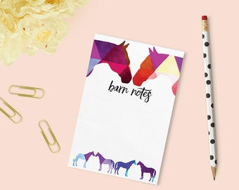 Notepad, equestrian stationery, horse notepad, equestrian inspired holiday gift, onehorsethreads