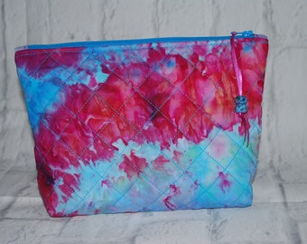Cosmetic Bag, Quilted Costmetic Bag, Hand Dyed Cosmetic Bag- Teal, Fuchsia, Purple  #14