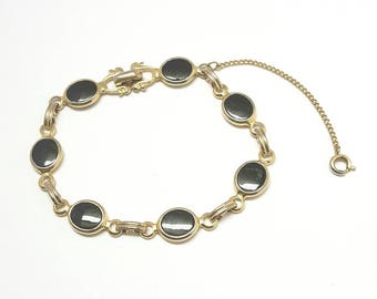 Vintage black and gold link bracelet by Emmons